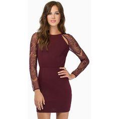 Tobi Hey You Bodycon Dress (5410 RSD) ❤ liked on Polyvore featuring dresses, burgundy, purple lace dress, cut out dress, long sleeve cut out dress, burgundy lace dress e body con dress