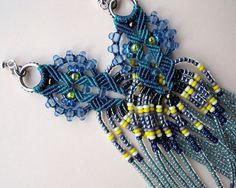 Bohemian long fringe micro macrame earrings Blue by MartaJewelry