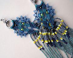 Bohemian long fringe micro macrame earrings Blue by MartaJewelry