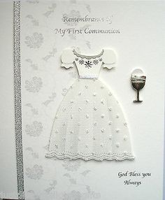 Remembrance Of My First Holy Communion Keepsake Card Handcrafted Gift Communion Gifts, First Holy Communion, Confirmation, Diy Cards, Crosses, Catholic, Card Ideas, Projects To Try, Card Making