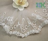 DIY New Lace wholesale 4 Yard / pack White Notes cotton embroidery lace trim decoration  diy fabric material 10 CM