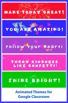 Animated Headers, Themes to decorate your Google Classroom! Make Today Great, You Are Amazing, Google Classroom, Header, Banner, Animation, Motivation, Banner Stands, Animation Movies