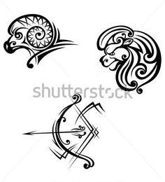 Leão, Áries E Sagitário Símbolos Em Estilo Ilustração Vetorial clip arts - ClipartLogo.com