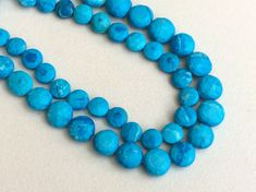 Turquoise Faceted Coin Beads Chinese Turquoise by gemsforjewels