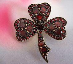 Victorian Bohemian Garnet Clover Pin   January Birthstone