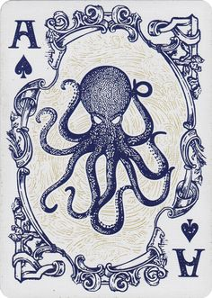 Nautical theme playing cards by Dan&Dave www.it This might be a tattoo idea for me. Octopus, a frame, and A's all in one Octopus Tattoos, Octopus Art, Animal Tattoos, Leg Tattoos, Tatoos, Art Carte, Arte Sketchbook, Inspiration Art, Creative Logo