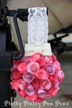 Wedding Decoration Paper Flower Kissing Balls Pomander - Pick your colors - Nursery Decoration. $50.00, via Etsy.