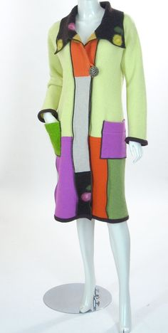 Upcycled Sweatercoat, Color Blocked Pastels, Size Medium, 8 to 12