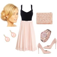 """Pink Tulle skirt outfit"" by anamariameciu on Polyvore. Pear shaped body Outfit"