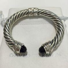 DAVID YURMAN STERLING SILVER 10MM CABLE ONYX & DIAMONDS HINGED CUFF BRACELET - http://designerjewelrygalleria.com/david-yurman/david-yurman-sterling-silver-10mm-cable-onyx-diamonds-hinged-cuff-bracelet/