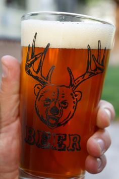 Beer Glass Screen Printed Pint Glass by HollidayGlass on Etsy, $12.00