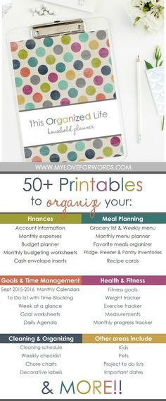 Love these printables! More than 50 printables to organize almost every area of your life including: finances, meal planning, cleaning, organizing, travel, kids, pets, passwords, contacts, and more!