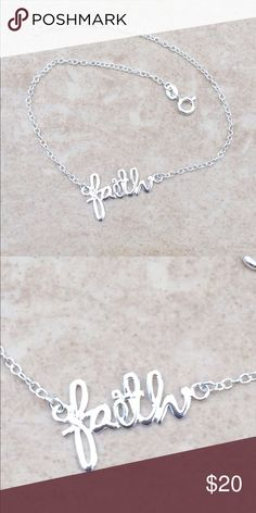 """Sterling Silver 925 Faith Anklet Ankle Bracelet Brand NEW!! Sterling silver anklet features a link chain with a script lower case """"faith"""" attached at the center.  A spring ring clasp completes the look.  Length is adjustable from 9 inches up to 9 7/8 inches long. Jewelry Bracelets"""