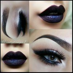 Nightmoth lip liner by Cosmetics with Melt Cosmetics lipstick in DGAF Goth Makeup, Dark Makeup, Skin Makeup, Beauty Makeup, Makeup Lipstick, Makeup Art, Natural Makeup, Melt Cosmetics, Gorgeous Makeup