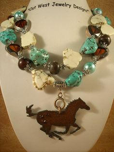 Cowgirl Necklace Set Aqua and White Turquoise by Outwestjewelry