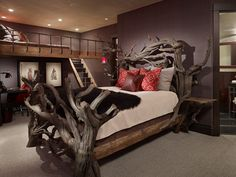 This bunk suite features a full bed, full bunk, and desk area.