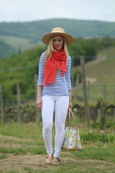 J. Crew striped tee, blue with orange outfit, french inspired outfit, wide brim straw hat, white denim, lemon print tote, Michael Kors gold sandals, Tuscany, Italian fashion blogger