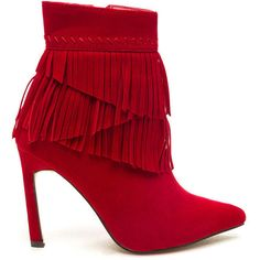 Fringe Escape Faux Suede Booties RED ($30) ❤ liked on Polyvore featuring shoes, boots, ankle booties, ankle boots, red, high heel booties, red stilettos, red zipper boots, red boots and short boots