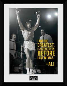 Muhammad Ali - Greatest - Big Framed Collector Print. 25mm Moulding. Shatter Proof Styrene. Official Merchandise. FREE SHIPPING