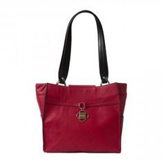 There's nothing like a beautiful red to make your heart beat a little faster! The Dabney for Demi MICHE bags features lightly-textured faux leather in rich tomato, complemented by black edges and a red band accent with dangling two-tone metal clover logo plate. Silver hardware; rectangular bottom; side pockets. *Miche Canada* #michecanada #michefashion #fashion #style #purses #handbags #accessories