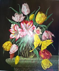 Peter Poraczky , Still life painting , oil painting , tulip , tulips , flower