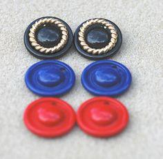 Avon Three Color Convertible Pierced Earrings Vintage #Vintage #Jewelry #Fashion #GiftForHer #CostumeJewelry #AvonConvertibleEarrings AvonInterchangeableEarrings #BlackRedBlueGoldEarrings