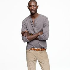 J. Crew's slub cotton henley is great for layering! put it under a cable-knit sweater, jacket or zip-up hoodie or all three!