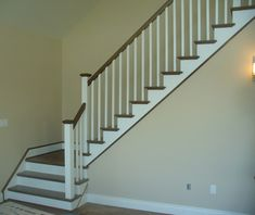railing for stairs wood, square | Staircase Style: Craftsmen Package In Stain & White 2-Tone Finish ...