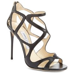 "Jimmy Choo 'Leslie' Caged Sandal, 4"" heel ($875) ❤ liked on Polyvore featuring shoes, sandals, black leather, strappy sandals, black stilettos, black high heel shoes, jimmy choo shoes and high heel sandals"
