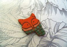 Wooden fox pin trend gift idea gift for her for him wood #fox #pin #wooden