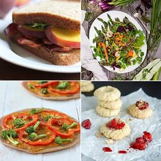 17-07-13 The BLP | Bacon, Lettuce, + Peach Sandwich- Stir & Scribble. Summer Market Salad- Golubka. Lentil Rice Thin Crust Pizza with Buffalo Mayo sauce, Red Bell Peppers and Broccoli - Vegan Richa. Roasted Strawberry Toasted Coconut Almond Cookies- Smart Cookie.
