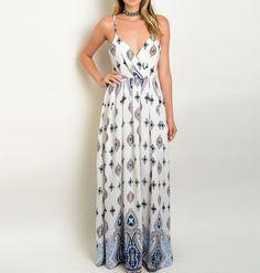 Graphic Geo Print Chiffon Slipdress Sundress Wrap Surplice Bodice Maxi Dress…