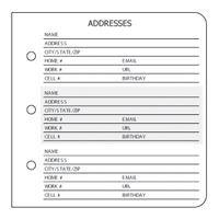 address book printable