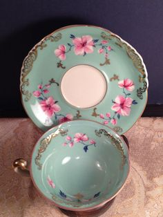 Turquoise Royal Bayreuth Footed Tea Cup & Saucer 24kt Gold trim