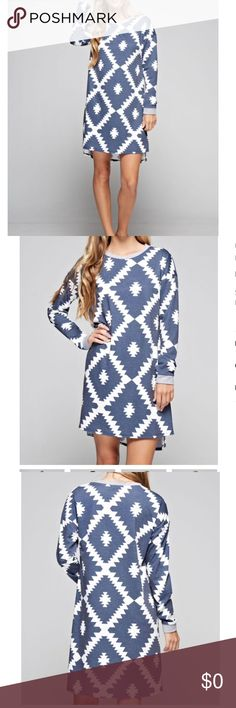 🌾🆕Denim Print Long Sleeve Tunic Dress Long Sleeve Tribal Pattern Loose Dress. Ultra Soft material. Denim Blue Tone Pattern. Dresses Midi