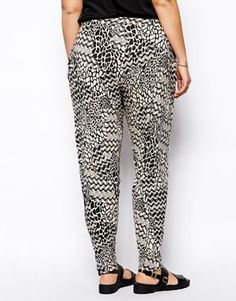 Image 2 ofASOS CURVE Exclusive Peg Trouser In Abstract Mono Print