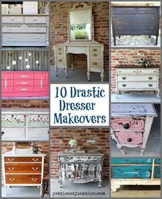 Good Morning, Today is Dresser day! White paint antiqued for an aged look I selected 10 drastic dresser makeovers done by yours truly to…