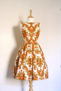 Burnt Orange and Gold Rococo Print Tiffany Prom by digforvictory, £105.00