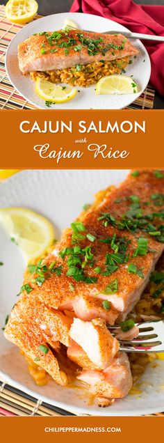 Cajun Baked Salmon with Cajun Rice - A recipe for salmon fillets, seasoned with Cajun spices, then baked and served over a bed of Cajun rice. Serve with a bit of squeezed lemon and happiness ensues.