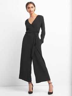 14b11654c3e Gap Womens Long Sleeve Wrap Jumpsuit True Black Wrap Jumpsuit