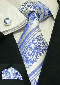 Amazon.com: Landisun 30G White Blue Paisley Mens Silk Tie Set: Tie+Hanky+Cufflinks Exclusive: Clothing