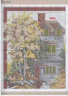 Schema punto croce Autumn House 02