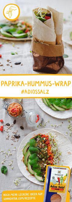 Würziger Wrap mit Hummus, der eine herrliche Schärfe in das Gericht bringt. Paprika Hummus, Wrap, Vegan, Camembert Cheese, Dairy, Hummus Recipe, Salt, Easy Meals, Chef Recipes