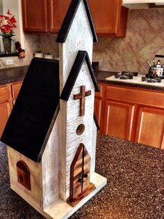 013..Church Bird House___Need to try this with old boards and pieces off my birch tree!