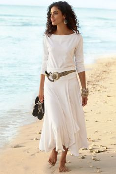 St. Kitts Skirt - Long Summer Skirt, Skirts, Clothing | Soft Surroundings  LOVE This but... I must be slighter to pull it off.  I love the taupe with the soft white.