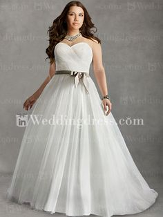 Strapless Plus Size Bridal Gown with Sash