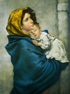 Schema per il punto croce: Madonna con bambino (Ferruzzi)