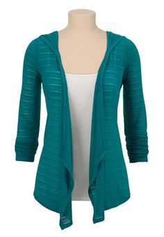open front shadow stripe hooded cardiwrap maurices