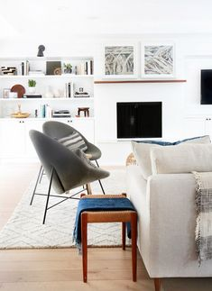 Gray upholstered circular chairs in a family room