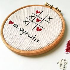Embroidered Wall Art - Romantic Love Cross Stitch Needlework Hoop frame - Love always wins on Etsy, £14.00
